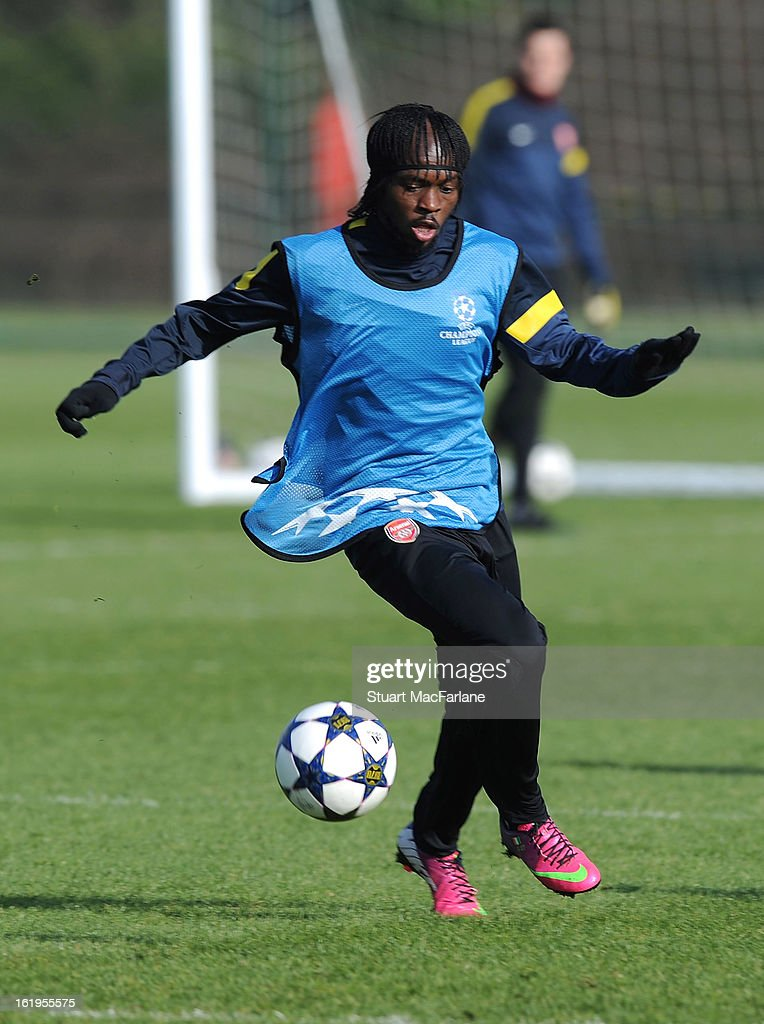 <a gi-track='captionPersonalityLinkClicked' href=/galleries/search?phrase=Gervinho&family=editorial&specificpeople=4500752 ng-click='$event.stopPropagation()'>Gervinho</a> of Arsenal in action during a training session ahead of their UEFA Champions League match against FC Bayern Muenchen at London Colney on February 18, 2013 in St Albans, England.