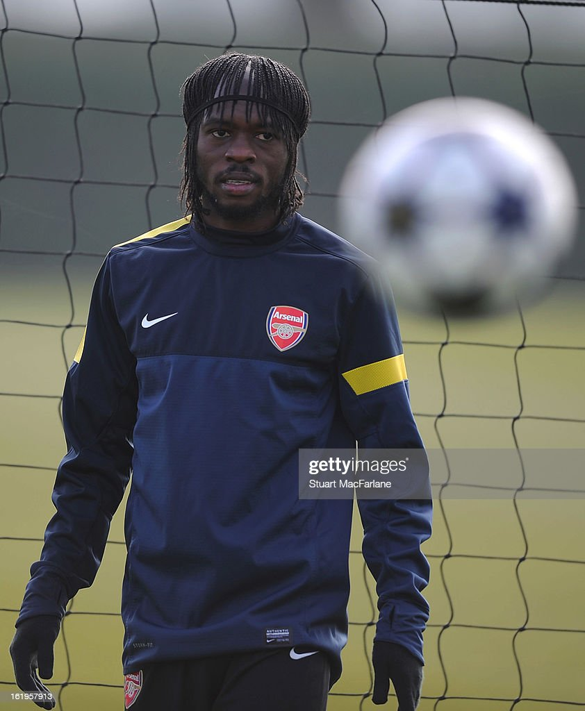 Gervinho of Arsenal takes part in a training session ahead of their UEFA Champions League match against FC Bayern Muenchen at London Colney on February 18, 2013 in St Albans, England.