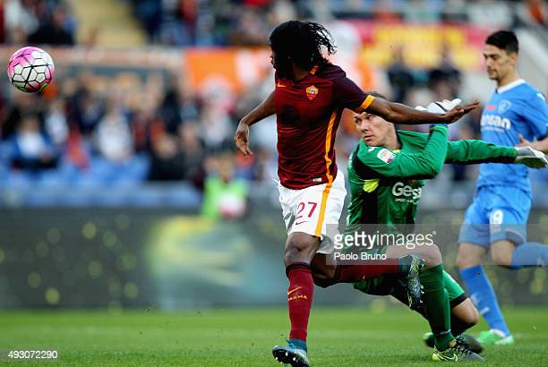 Gervinho of AS Roma competes for the ball with Empoli FC goalkeeper Lucasz Skorupski during the Serie A match between AS Roma and Empoli FC at Stadio...