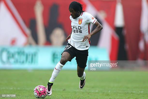 Gervinho of Hebei China Fortune drives the ball during the Chinese Football Association Super League match between Guangzhou Evergrande and Hebei...