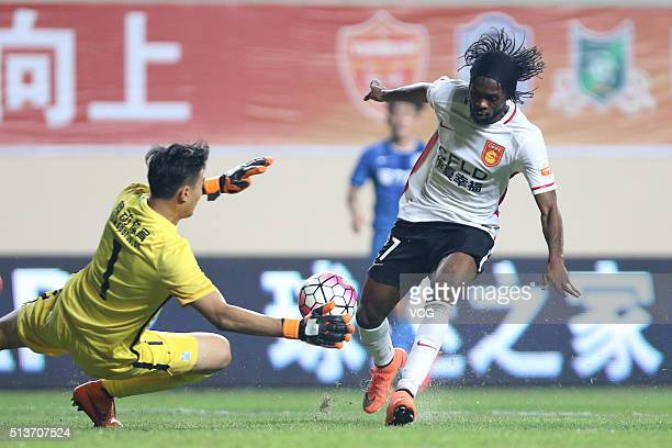 Gervinho of Hebei China Fortune shoots the ball during the Chinese Football Association Super League match between Guangzhou RF and Hebei China...