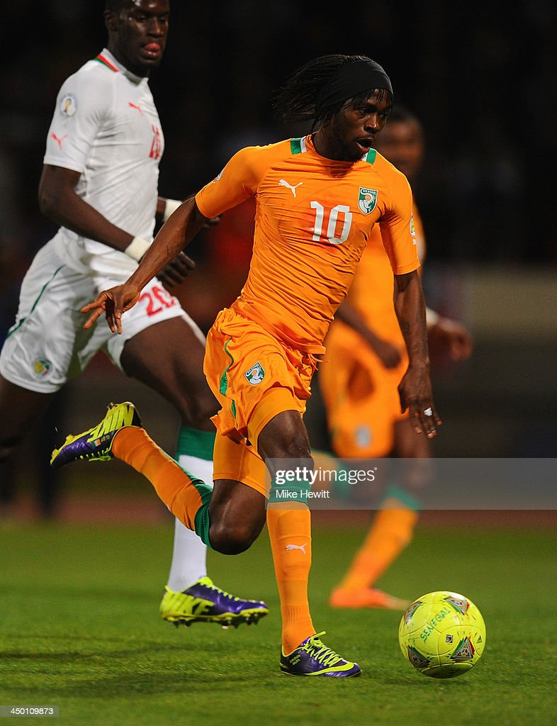 <a gi-track='captionPersonalityLinkClicked' href=/galleries/search?phrase=Gervinho&family=editorial&specificpeople=4500752 ng-click='$event.stopPropagation()'>Gervinho</a> of Ivory Coast in action during the FIFA 2014 World Cup Qualifier Play-off Second Leg between Senegal and Ivory Coast at Stade Mohammed V on November 16, 2013 in Casablanca, Morocco.