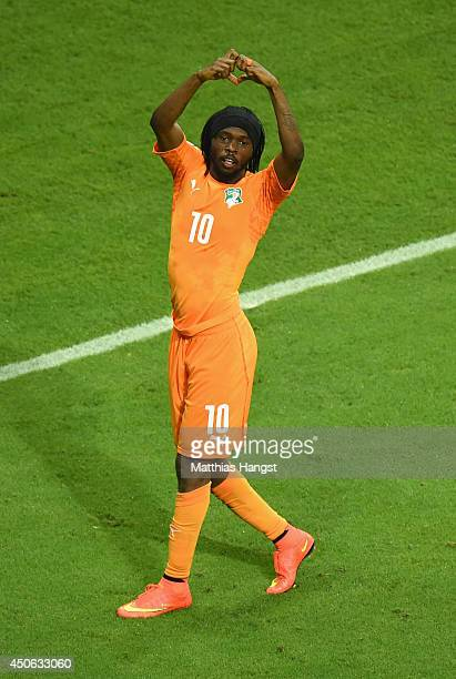 Gervinho of the Ivory Coast celebrates after scoring his team's second goal during the 2014 FIFA World Cup Brazil Group C match between the Ivory...