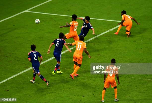 Gervinho of the Ivory Coast scores the team's second goal during the 2014 FIFA World Cup Brazil Group C match between Cote D'Ivoire and Japan at...