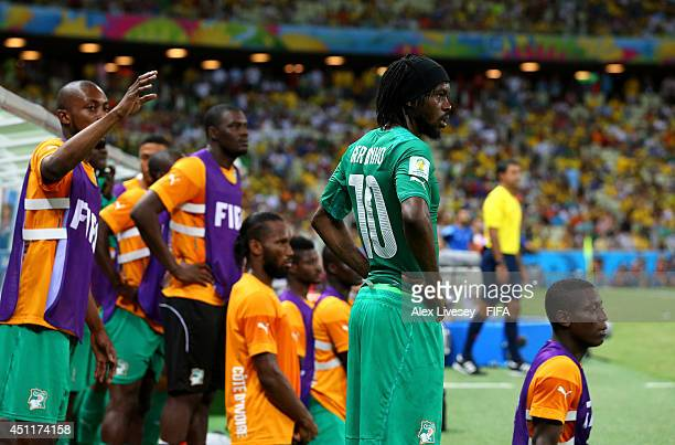 Gervinho of the Ivory Coast watches with team mates during the 2014 FIFA World Cup Brazil Group C match between Greece and Cote D'Ivoire at Estadio...