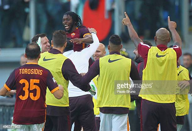 Gervinho with his teammates of AS Roma celebrates after scoring the team's second goal during the Serie A match between AS Roma and SS Lazio at...