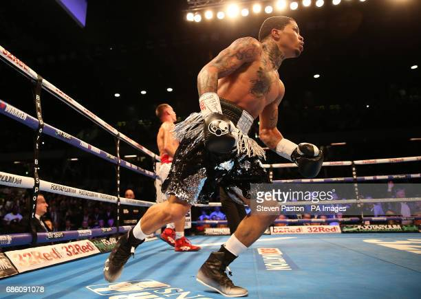 Gervonta Davis celebrates beating Liam Walsh in the IBF SuperFeatherweight Championship bout at The Copper Box London