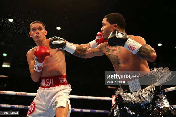 Gervonta Davis of The United States fights Liam Walsh of England in the IBF World Junior Lightweight Championship match at Copper Box Arena on May 20...