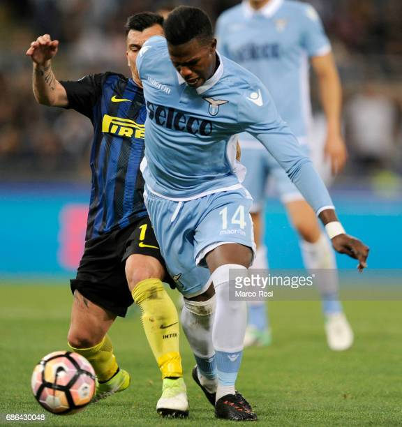 Gery Medel of FC Internazionale compete for the ball with Keita Balde Diao of SS Lazio during the Serie A match between SS Lazio and FC...