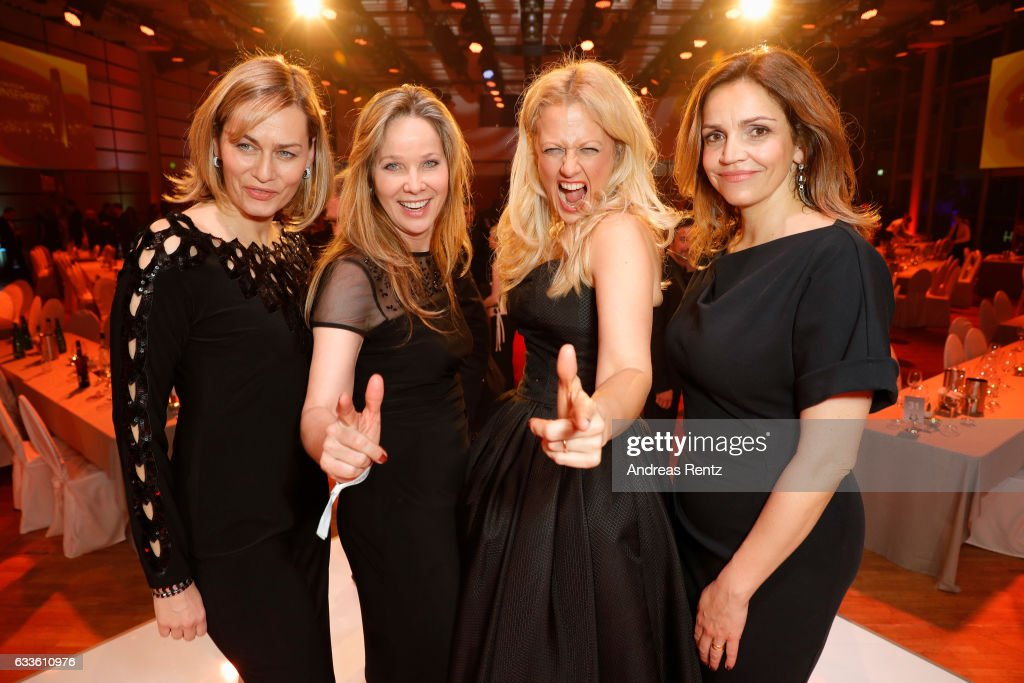 Gesine Cukrowski, Ann-Kathrin Kramer, Barbara Schoeneberger and Rebecca Immanuel attend the German Television Award (Deutscher Fernsehpreis 2017) at Rheinterrasse on February 2, 2017 in Duesseldorf, Germany.