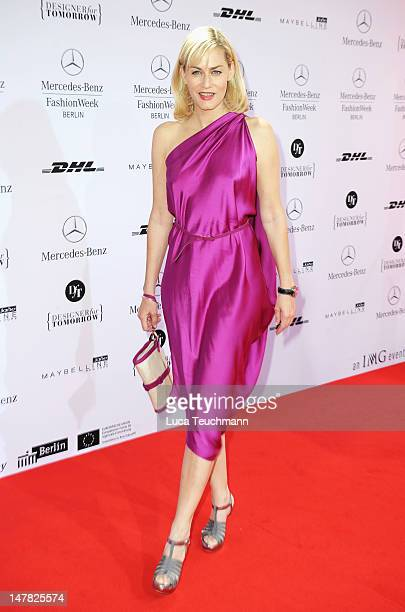 Gesine Cukrowski arrives for the Designer For Tomorrow Show during the MercedesBenz Fashion Week Spring/Summer 2013 on July 4 2012 in Berlin Germany