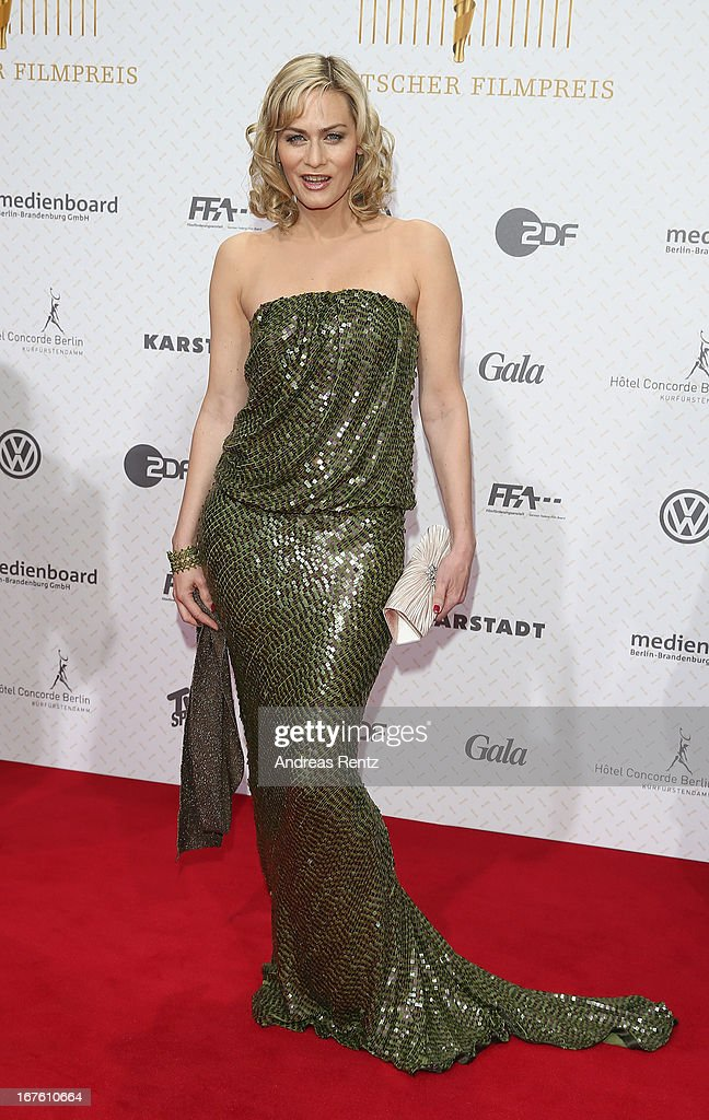 Gesine Cukrowski arrives for the Lola - German Film Award 2013 at Friedrichstadt-Palast on April 26, 2013 in Berlin, Germany.