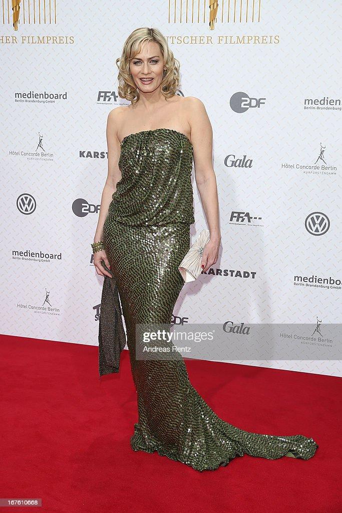 Gesine Cukrowski arrives for the Lola - German Film Award 2013 at Friedrichstadt-Palast on April 26, 2013 in Berlin, Germany.
