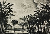 Gessen valley in Judea sketch for Act IV Scene V of the opera The prodigal son by Amilcare Ponchielli Season 1881 from 500 stage design sketches in...