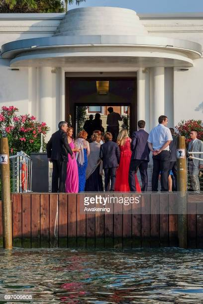 Gests arrive at the Marriot Hotel during the wedding of Spanish professional footballer Alvaro Morata and Italian model Alice Campello on June 17...