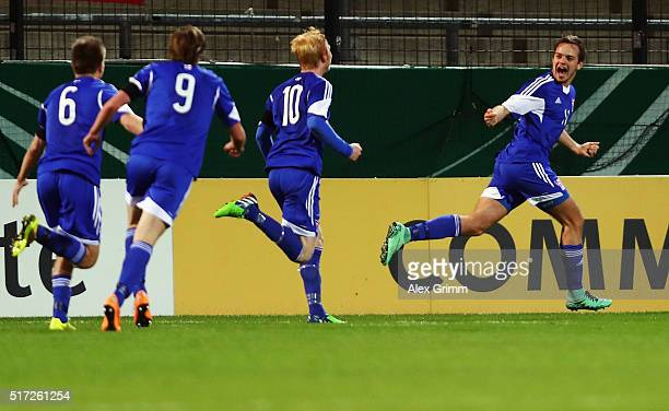 Gestur Dam of Faroe Islands celebrates his team's first goal with team mates during the 2017 UEFA European U21 Championships qualifier match between...