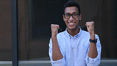 Gesture of Celebrating Success, Excited Young Black Handsome Man