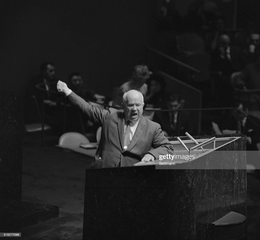 Gesturing and shouting, Soviet Premier <a gi-track='captionPersonalityLinkClicked' href=/galleries/search?phrase=Nikita+Khrushchev&family=editorial&specificpeople=92216 ng-click='$event.stopPropagation()'>Nikita Khrushchev</a> addresses the United Nations General Assembly, October 12th. The Soviet Premiere rose on a point of order during a speech by Senator Lorenzo Sumulong, of the Philippines. Khrushchev demanded that Assembly President Frederick Boland halt Sumulong's speech.