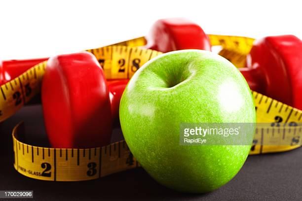 健康キット: アップル、ウエイト、メジャーテープ