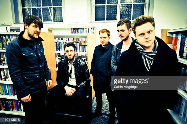 Get It Loud In Libraries Phil Titus Chad Thomas Andrew Hayes Ben Giddings and Steve Sparrow of Morning Parade pose for a photoshoot backstage at...