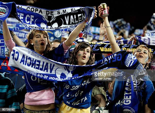 Getafe fans cheer their team during the Copa del Rey final match between Valencia and Getafe at the Vicente Calderon stadium on April 16 2008 in...