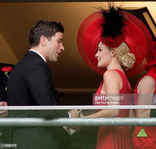 Gethin Jones and Katherine Jenkins watch the racing as they attend day 2 of Royal Ascot at Ascot Racecourse on June 15 2011 in Ascot United Kingdom