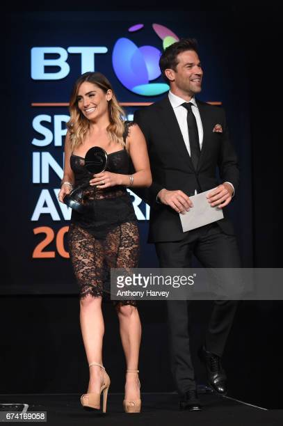 Gethin Jones and Layla AnnaLee present the Digital Platform of the Year award during the BT Sport Industry Awards 2017 at Battersea Evolution on...