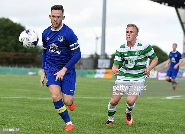 Gethin Jones of Everton and Calvin Miller of Celtic during the Super Cup NI under 21 final at Ballymena Showgrounds on July 23 2016 in Ballymena...