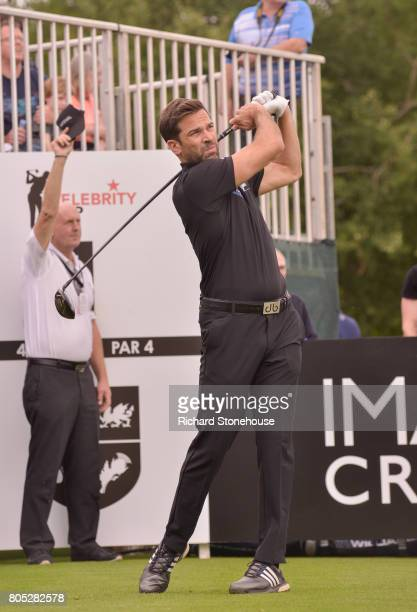 Gethin Jones playing for Wales on Day one of the Celebrity Cup at Celtic Manor Resort at Celtic Manor Resort on July 1 2017 in Newport Wales