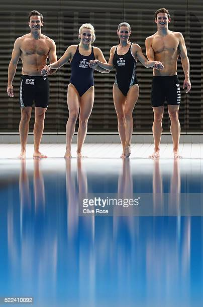 Gethin Jones Siobhan O'Conner Kirsty Gallacher and Michael Jamieson pose for the camera's during the Speedo 'Dive In' launch at Aquatics Centre on...