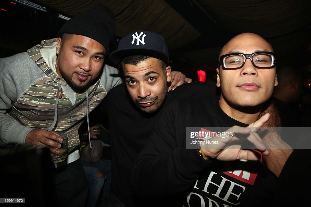 DJ GetLive, Adriel Ortiz, and DJ Neil Armstrong attend GetLive With DJ Neil Armstroing at Lil Charlie's on January 22, 2013 in New York City.