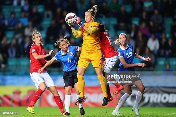 Getter Laar of Estonia collects the ball against Danielle Carter of England during UEFA Women's Euro 2017 Qualifier match between Estonia and England...