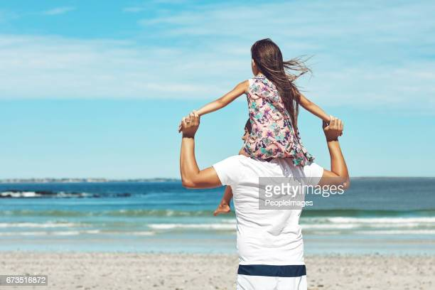 Getting a better view on daddy's shoulders