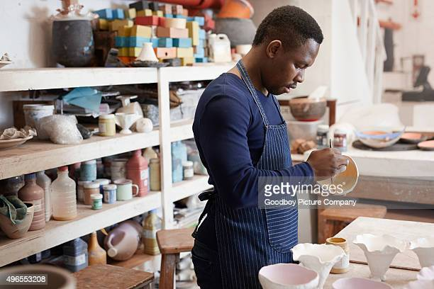 Getting creative with his pottery
