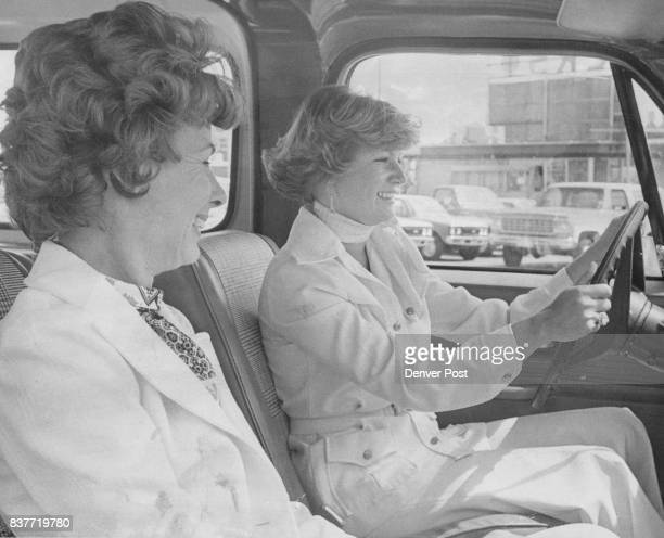 Getting feel of 1977 Blazer to be driven in obstacle course competition during Petticoat Derby next Sunday are Mrs Paul Boyer left and Mrs Thomas...