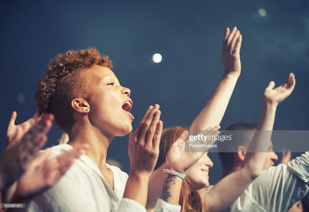 Getting in tune with the music : Stock Photo
