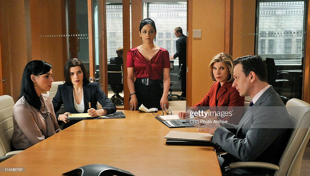 'Getting Off'--Alicia (Julianna Margulies, second from left), Diane (Christine Baranski, second from right), and Will (Josh Charles, far right) defend Stephanie Engler (guest star Sarah Silverman, far left), the owner of an adultery website, when one of her users is murdered. However, the civil case turns criminal when the murder is pinned on Stephanie. Meanwhile Kalinda (Archie Panjabi, center) contemplates leaving the firm, on THE GOOD WIFE, Tuesday, May 10 (10:00-11:00 PM, ET/PT) on the CBS Television Network.