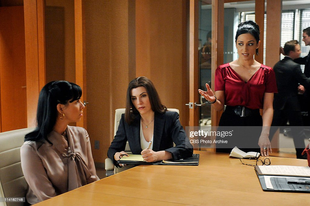 ''Getting Off'--Alicia (Julianna Margulies, center), helps defend Stephanie Engler (guest star Sarah Silverman, left), the owner of an adultery website, when one of her users is murdered. However, the civil case turns criminal when the murder is pinned on Stephanie. Meanwhile Kalinda (Archie Panjabi, right) contemplates leaving the firm, on THE GOOD WIFE, Tuesday, May 10 (10:00-11:00 PM, ET/PT) on the CBS Television Network.
