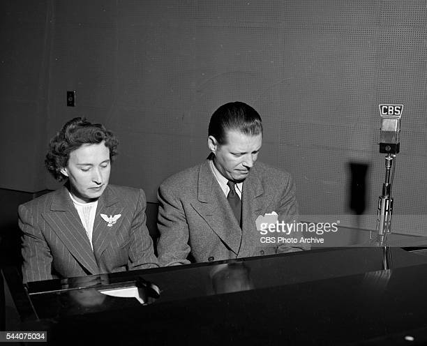 Getting ready for the radio program Youre In the Act piano team Phil Ohman and Margaret Hart at CBSKNX radio studios Columbia Square Hollywood CA...