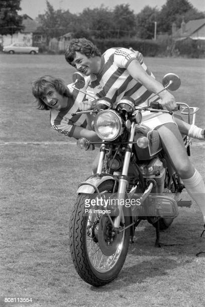 Getting up to their stunts at South Ruislip are QPR stars Stan Bowles and Ian Gillard as they have a bit of fun on a motorcycle The footballers were...