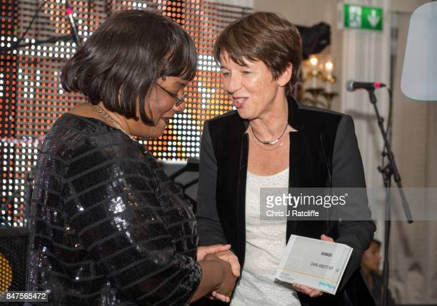 Getty Images CEO Dawn Airey awards the icon of the year award to Dianne Abbott at the Diversity in Media Awards on September 15 2017 in London England