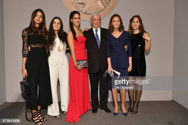 Getty Medal Award Recipient Mario Vargas Llosa poses with his family during the Getty Medal Dinner 2017 at The Morgan Library Museum on November 13...