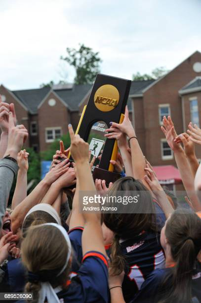Gettysburg College celebrates the schools second championship during the Division III Women's Lacrosse Championship held at Kerr Stadium on May 28...