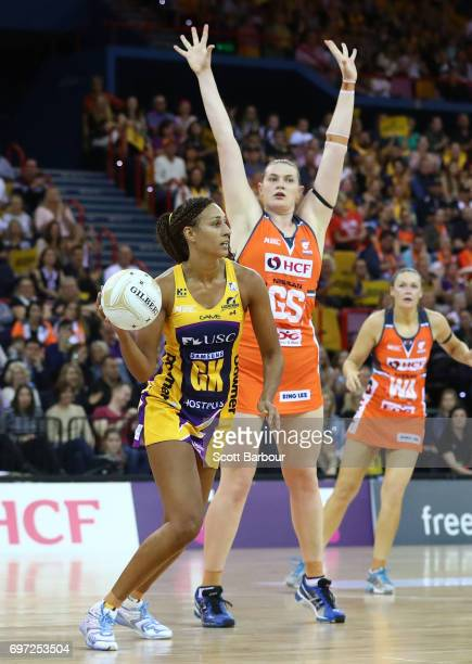 Geva Mentor captain of the Sunshine Coast Lightning passes the ball during the Super Netball Grand Final match between the Lightning and the Giants...