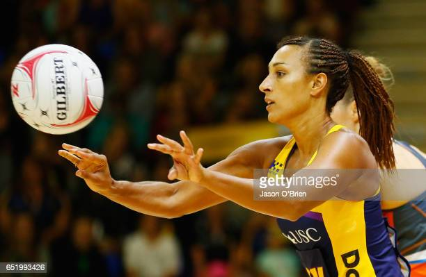 Geva Mentor of the Lightning during the round four Super Netball match between the Lightning and the Giants at University of the Sunshine Coast on...