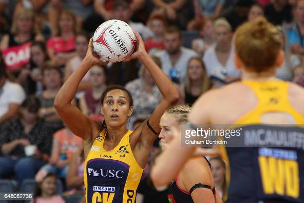 Geva Mentor of the Lightning looks to pass during the round three Super Netball match between the Thunderbirds and the Lightning at Priceline Stadium...