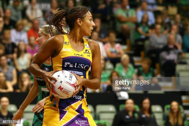 Geva Mentor of the Lightning looks to pass the ball during the round six Super Netball match between the Fever and the Lightning at HBF Stadium on...