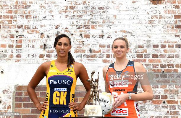 Geva Mentor of the Sunshine Coast Lightning and Jo Harten of the Giants pose for a photo during the Super Netball Grand Final media opportunity at...