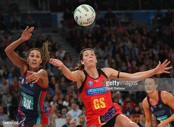 Geva Mentor of the Vixens and Irene van Dyk of the Magic compete for the ball during the ANZ Championship Grand Final match between the Melbourne...