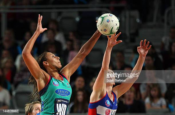 Geva Mentor of the Vixens and Jade Clarke of the Mystics compete for the ball during the round eight ANZ Championship match between the Melbourne...